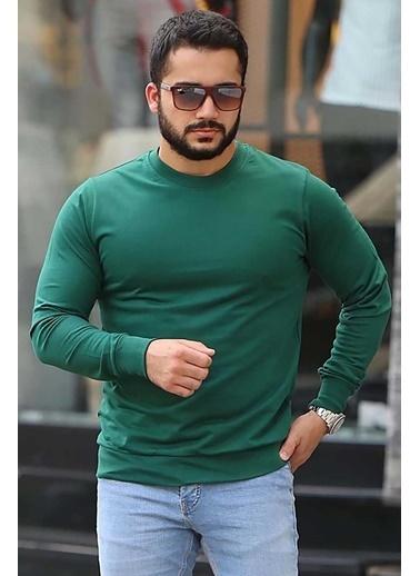 Madmext  Basic  Sweatshirt 4119 Yeşil